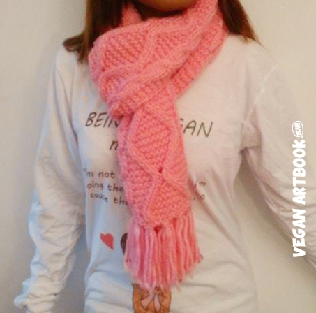 Warm detailed vegan scarf - Sakura - VAB
