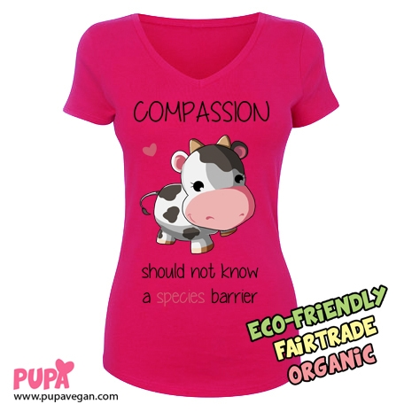 Ladies Stretch V-neck T-shirt hot pink- Compassion