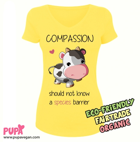 Ladies Stretch V-neck T-shirt yellow - Compassion